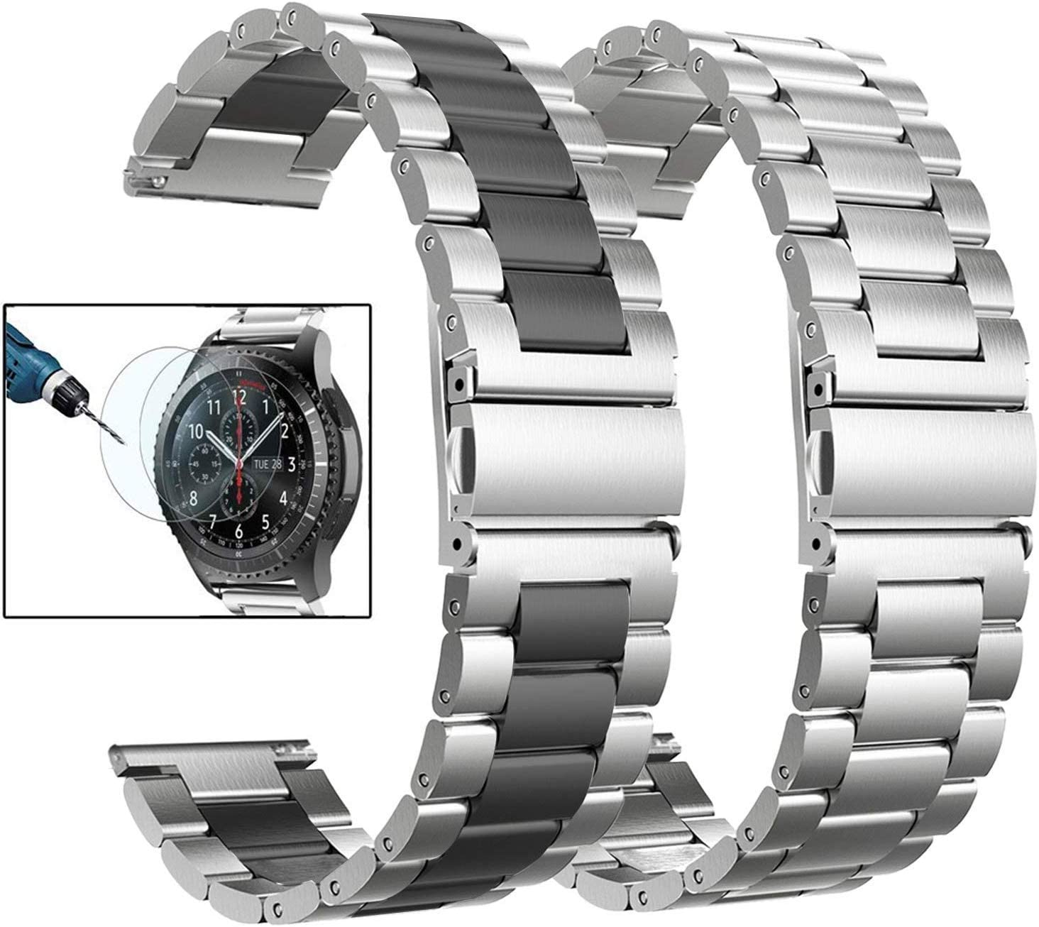 Valkit Compatible Galaxy Watch 46mm/Galaxy Watch 3 45mm Bands, 2 Pack 22mm Stainless Steel Solid Metal Wrist Band Business Strap + Screen Protector for Gear S3 Frontier/Classic, Sliver/Black+Sliver