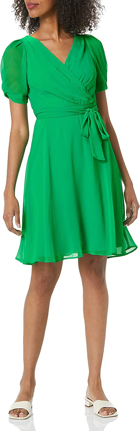 New product!! DKNY Women's Knot Sleeve Dress Flare Fit and High order