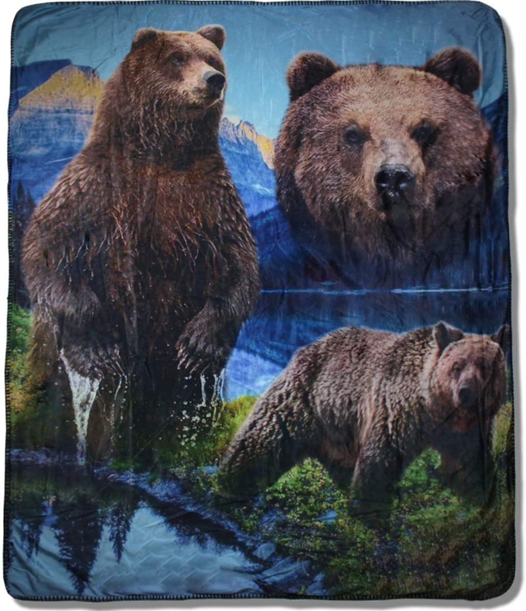 "Great Northern Animal Wildlife Sublimated Fleece Sherpa Bear Throw Blanket, Size 59"" x 47"" (150 x 120 cm)"