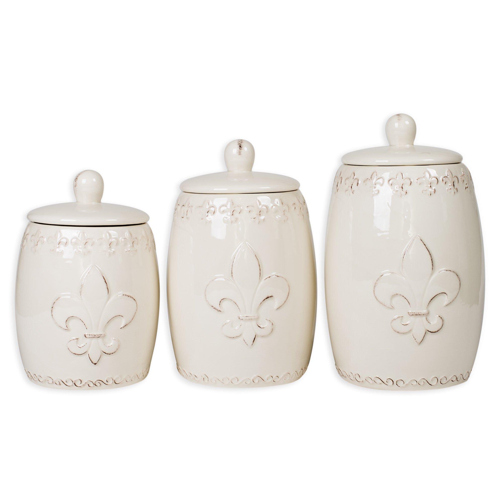 Distressed White Fleur de Lis 3 Pc Ceramic Canister Set