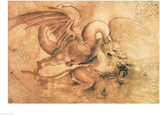 Da Vinci A Dragon and a Lion Fighting fine art print poster various sizes