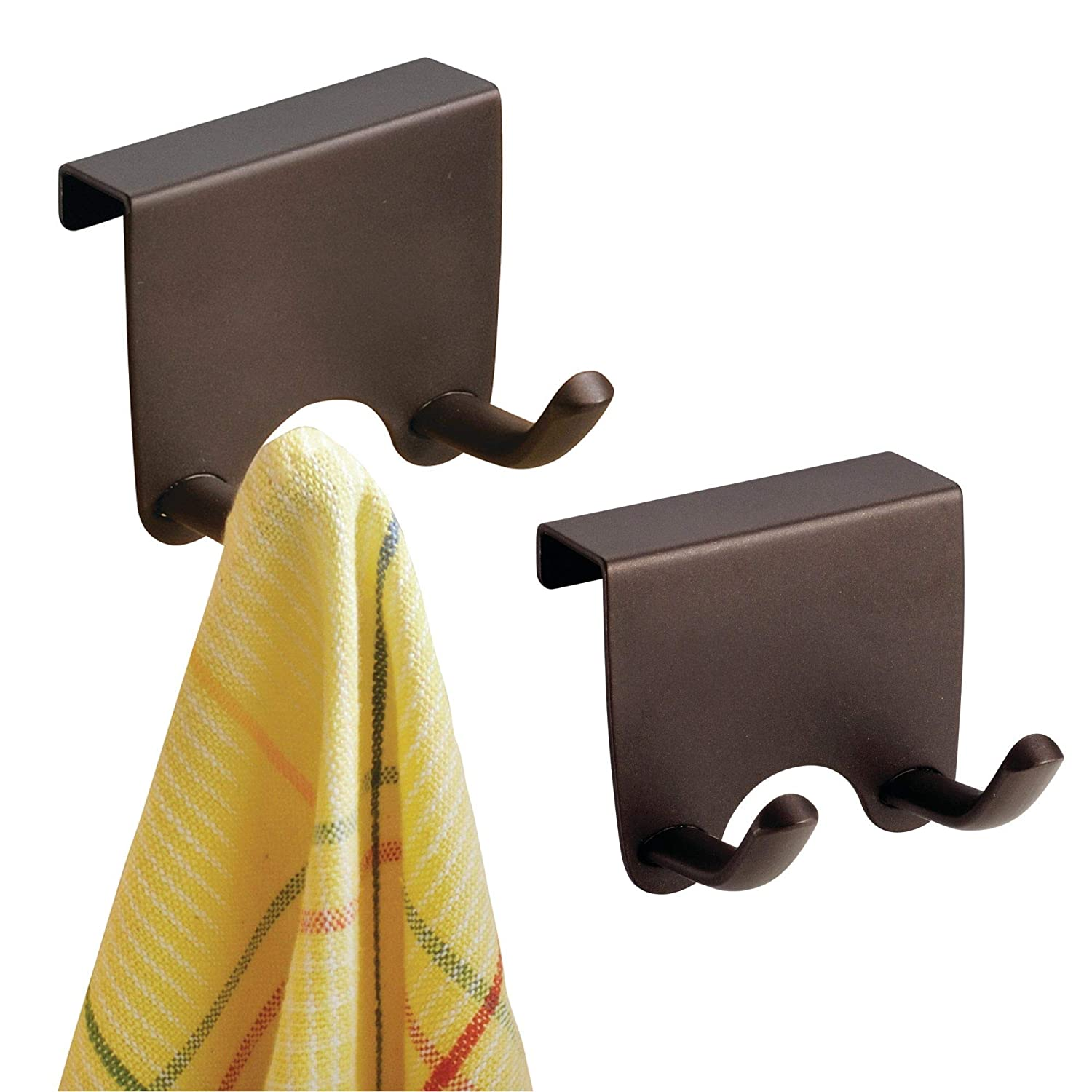 mDesign Over-the-Cabinet Kitchen Storage Hooks for Dish Towels or Pot Holders - Pack of 2, Bronze MetroDecor 00188MDK