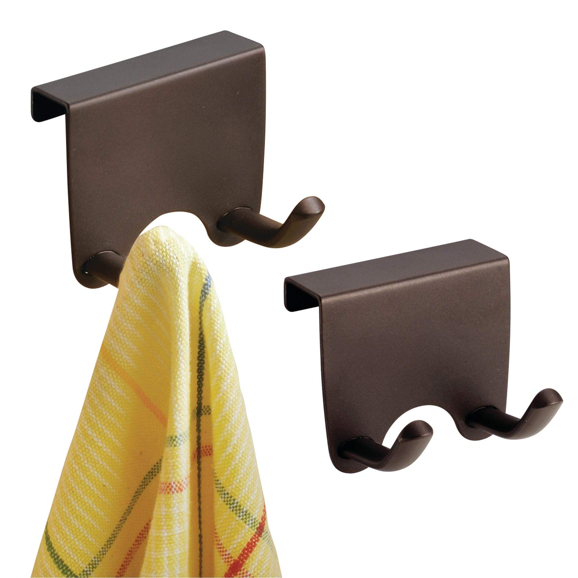 mDesign Over-the-Cabinet Kitchen Storage Hooks for Dish Towels or Pot Holders - Pack of 2, Bronze