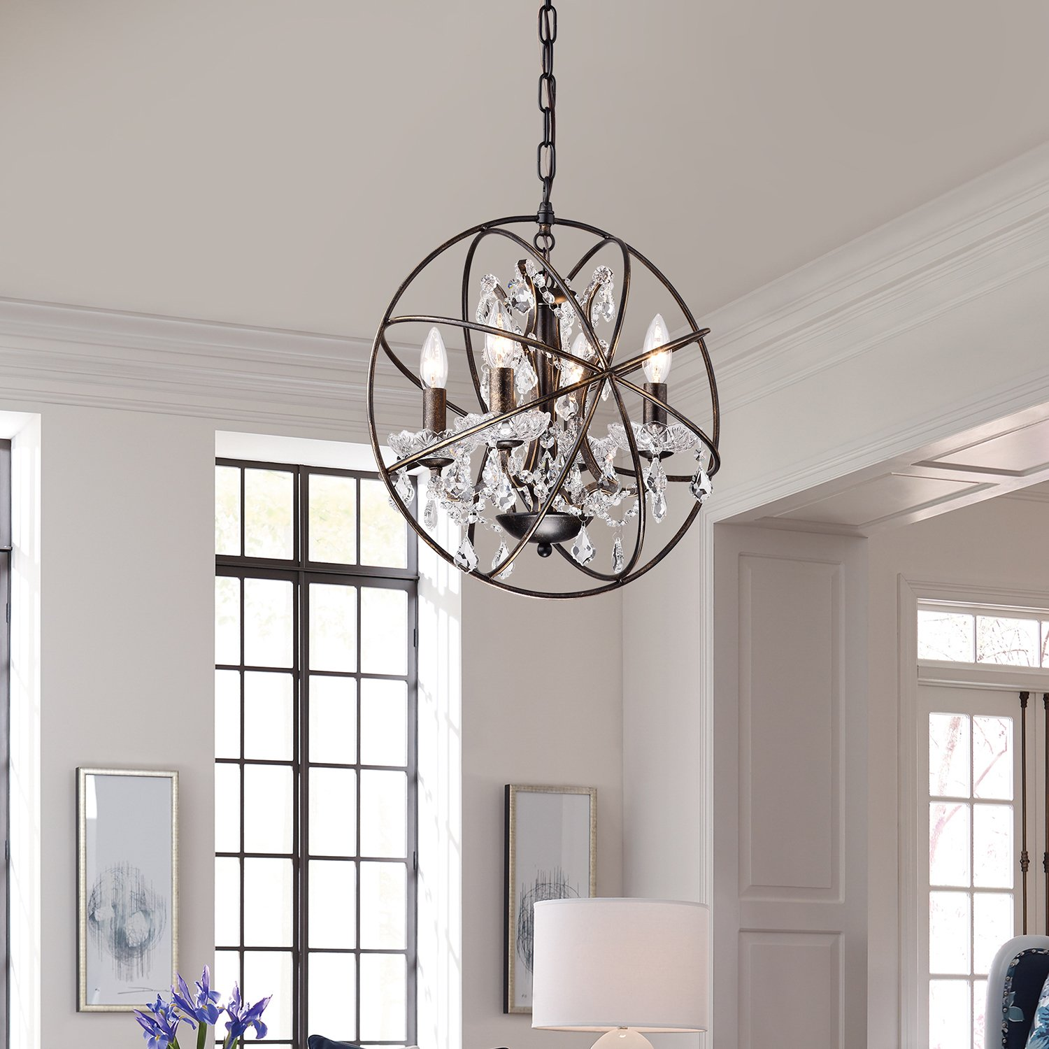 feiss glass chandelier candle bronze fe brz pendant light shack orb products adams
