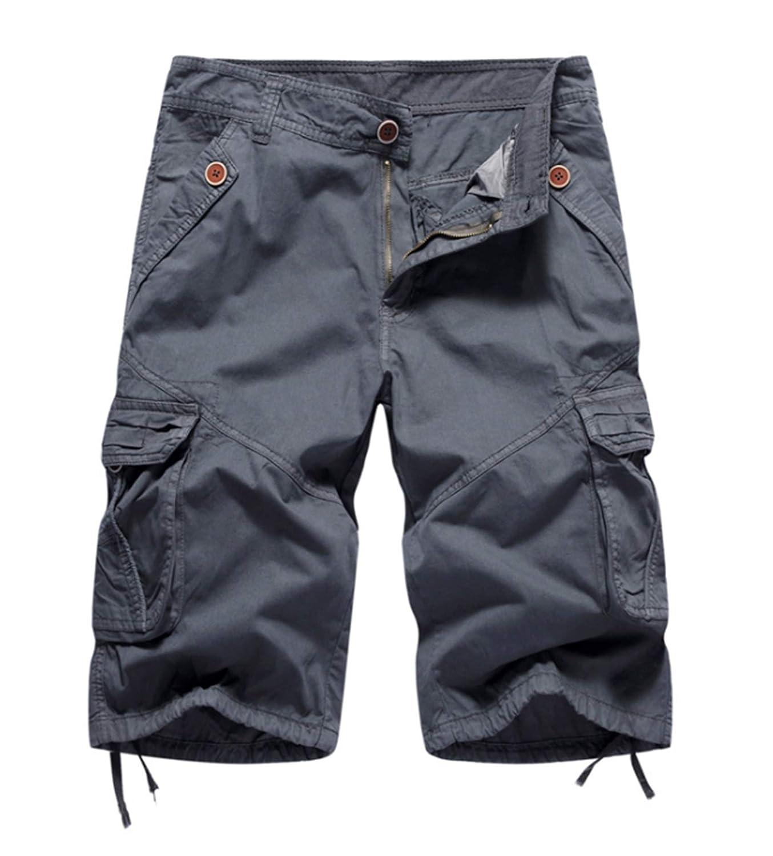 ZumZup Homme Militaire Pantacourt Cargo Shorts Bermudas R/étro Baggy Camo Shorts Outdoor L/âche Poche sans Ceinture Coton Casual Combat Shorts