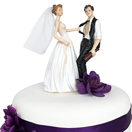 Amazon Com Wedding Cake Topper Funny Romantic Bride And Drunk