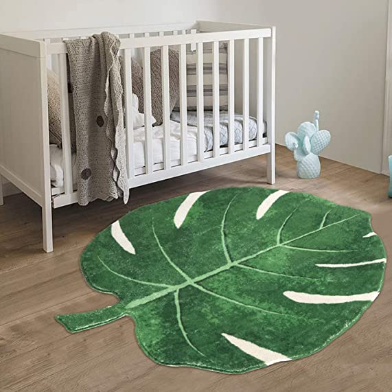 HAOCOO Area Rugs 2 x3 Leaves Faux Wool Bath Mat Non-Slip Door Carpet Soft Luxury Microfiber Machine-Washable Floor Bathroom Rug