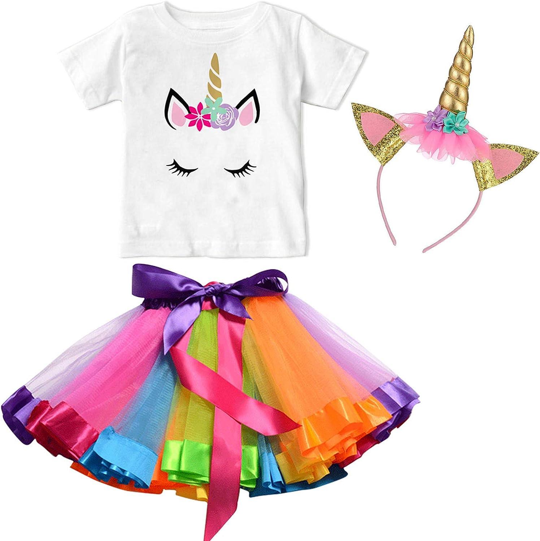 Couvre-Chef,3pcs Tenue d/ét/é pour Les Enfants 1-7 Ans NNJXD Les Petites Filles Unicorn Coton T-Shirt Jupe Tutu Arc-en-Ciel