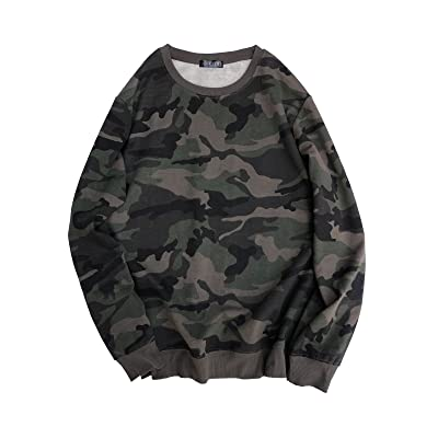 Ougedi Crewneck Camouflage Sweatshirts Army Long Sleeve Pullover Shirts Tops at Women's Clothing store