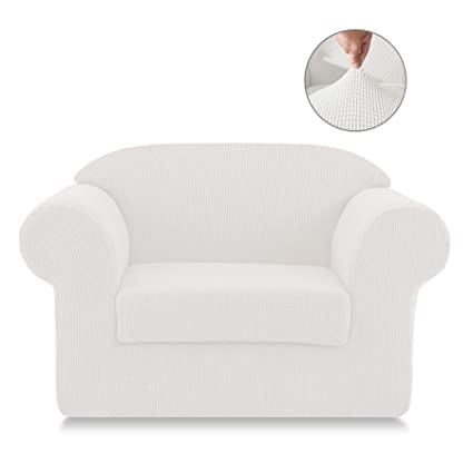 Super Symax Spandex Stretch Sofa Slipcovers 2 Pieces Non Slip Sofa Seat Chair Covers Couch Furniture Protector For Dog Cat Chair Off White Gmtry Best Dining Table And Chair Ideas Images Gmtryco