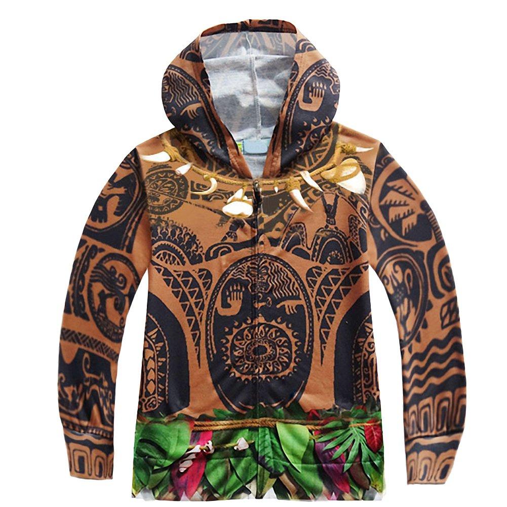 Dressy Daisy Moana Adventure Maui Boys HoodiesZipper Hooded Jacket Thin Outerwear