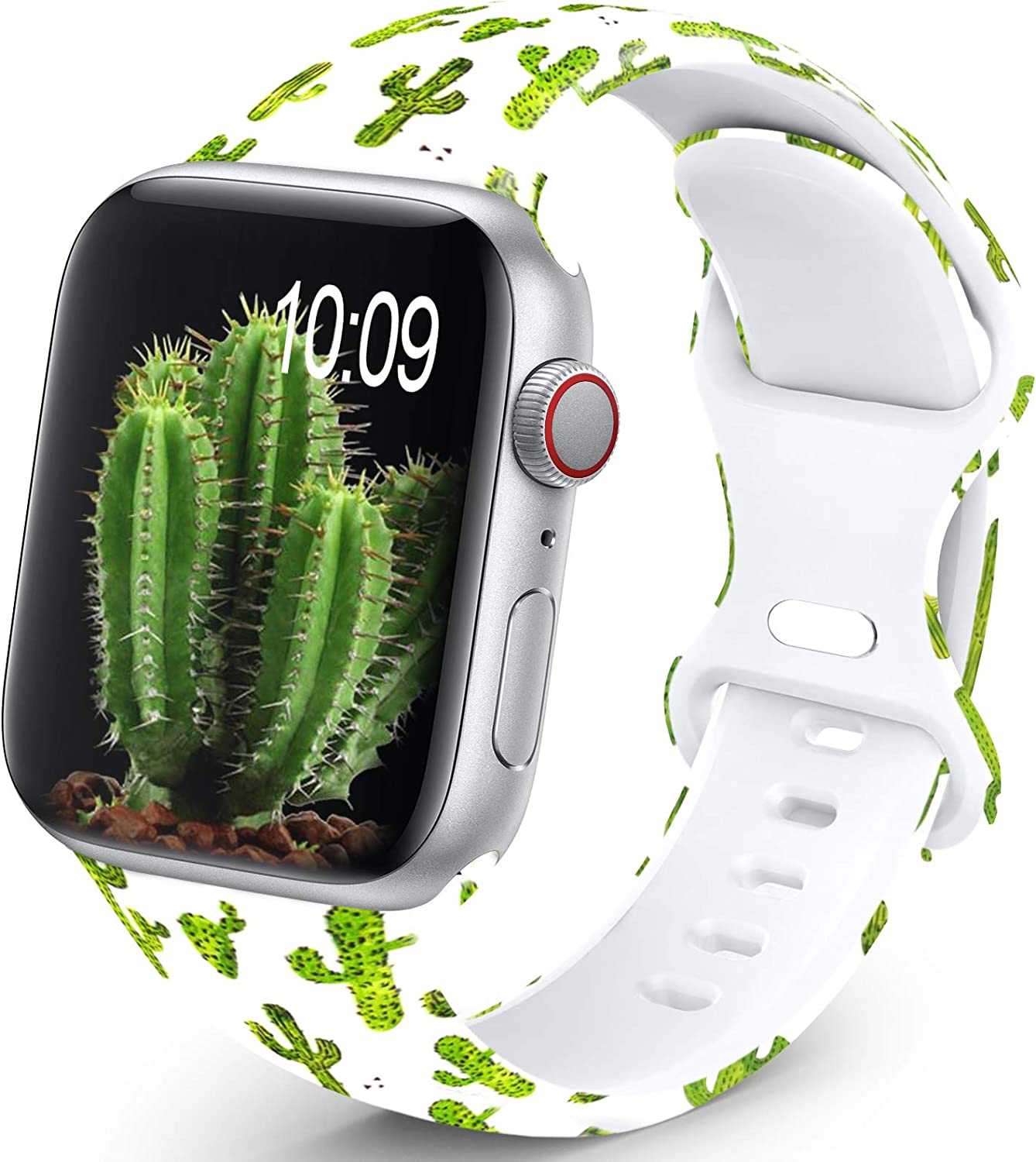 OHOTLOVE Compatible with Apple Watch 38mm 40mm 42mm 44mm for Women Men, Soft Silicone Pattern Printed Replacement Wristband Band For Iwatch Series 6 & Series 5 4 3 2 1.Cactus A