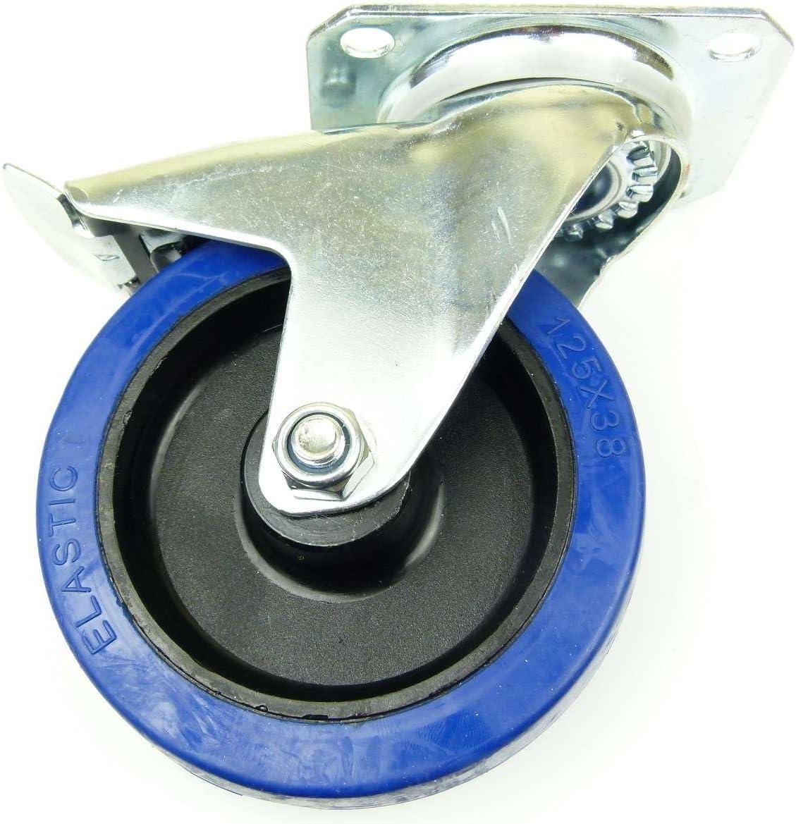 2x Brems + 2x Bock INDUSTRIEQALIT/ÄT 1 Satz 100mm Blue Wheels Transportrollen Lenkrollen mit Bremse//Feststellbremse 180kg // Rad Bockrollen Elastik-Rad blau