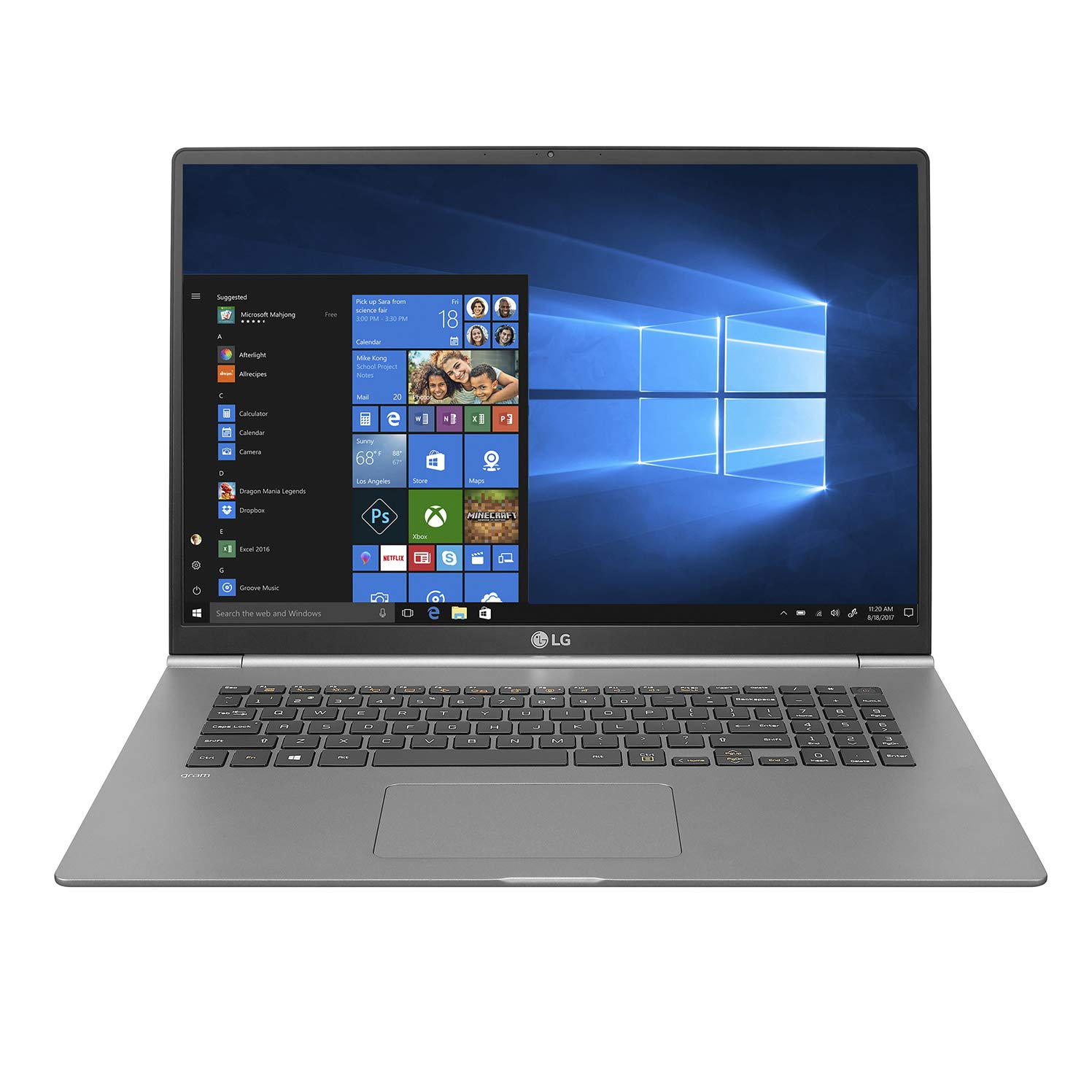 LG gram Thin and Light Laptop - 17'  (2560 x 1600) IPS Display, Intel 8th Gen Core i7, 16GB RAM, 512GB SSD, up to 19.5 Hour Battery, Thunderbolt 3 - 17Z990-R.AAS8U1 (2019), Dark Silver