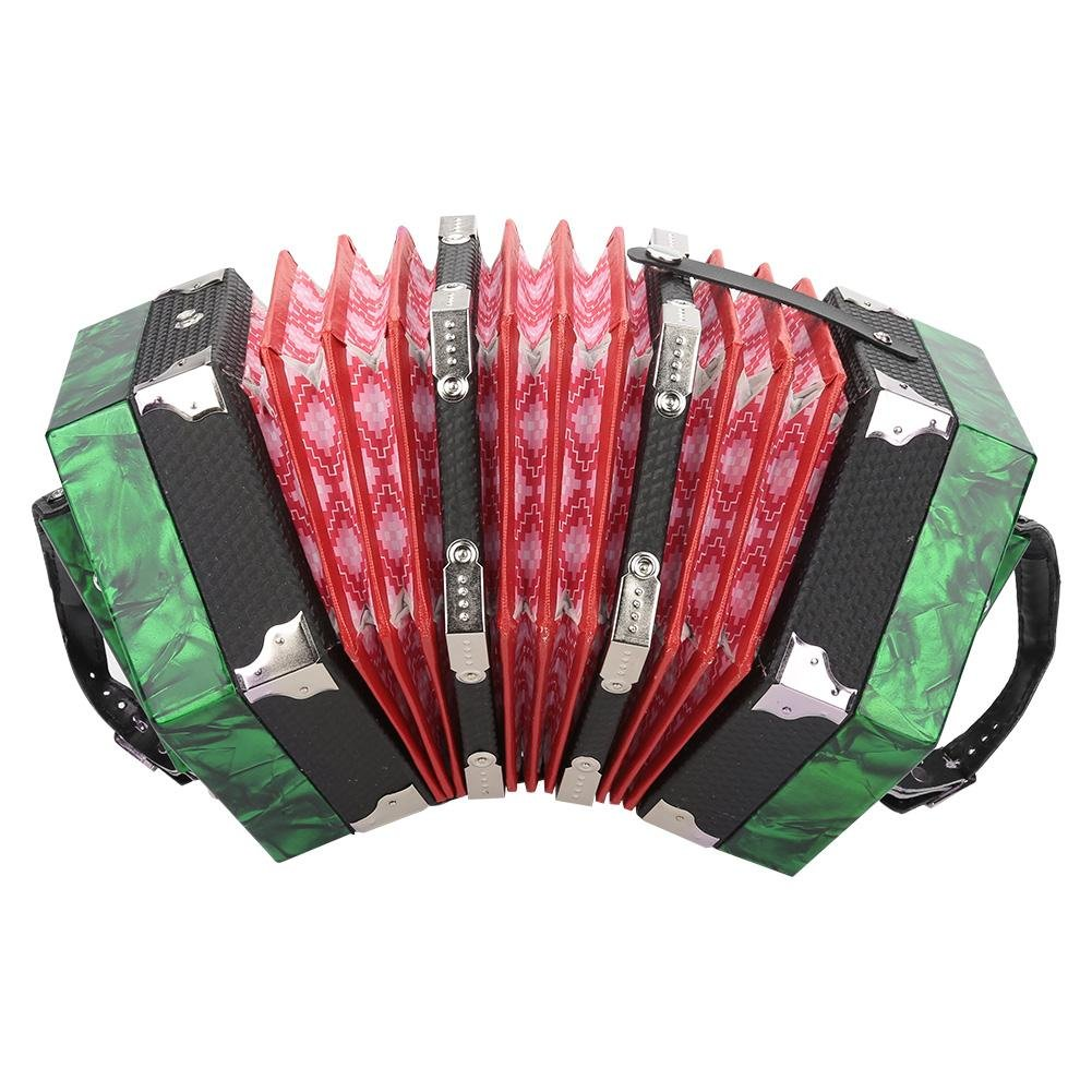 Vbestlife Diatonic Accordion - Professional 20 Buttons Accordion Concertina Musical Instrument Accessory Kids Piano Percussion Accordion Musical Toy, Red (Green)