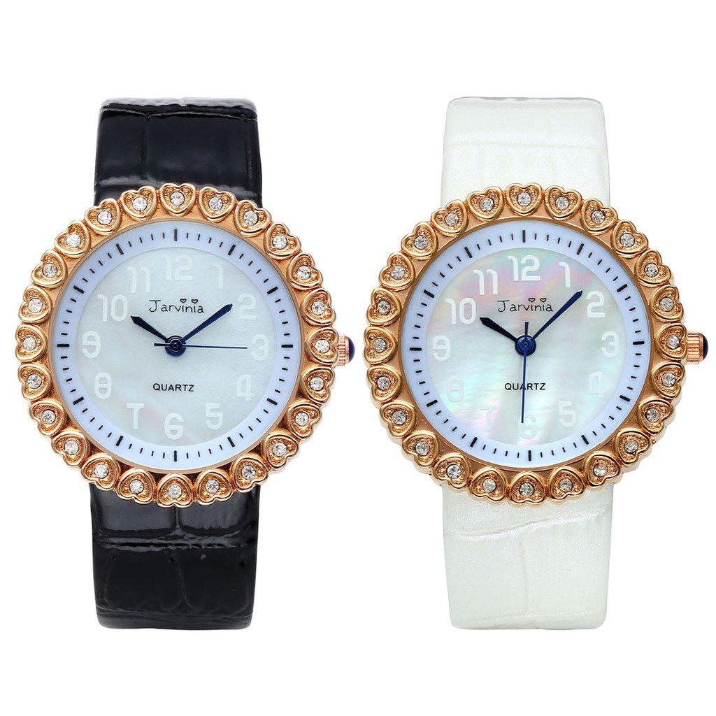 JSDDE Uhren,Elegante Frauen Armbanduhr Herz Strass Damenuhr mit Muschel Echtleder-Band Rosegold Analog Qaurzuhr,Schwarz