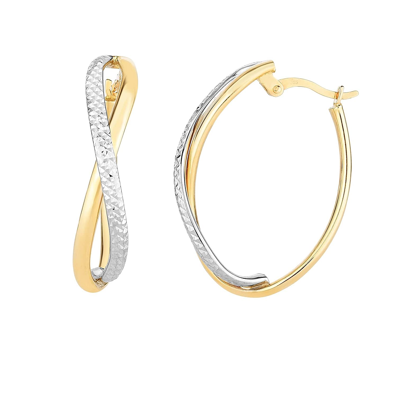14Kt Yellow and White Gold 25X8X6.5mm Shiny+Diamond Cut Two Tone Infinity Oval Hoop Earring with Hinged Clasp