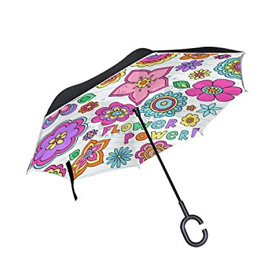 AHOMY Colorful Flower Large Double Layer Inverted Umbrella Windproof Travel Umbrella