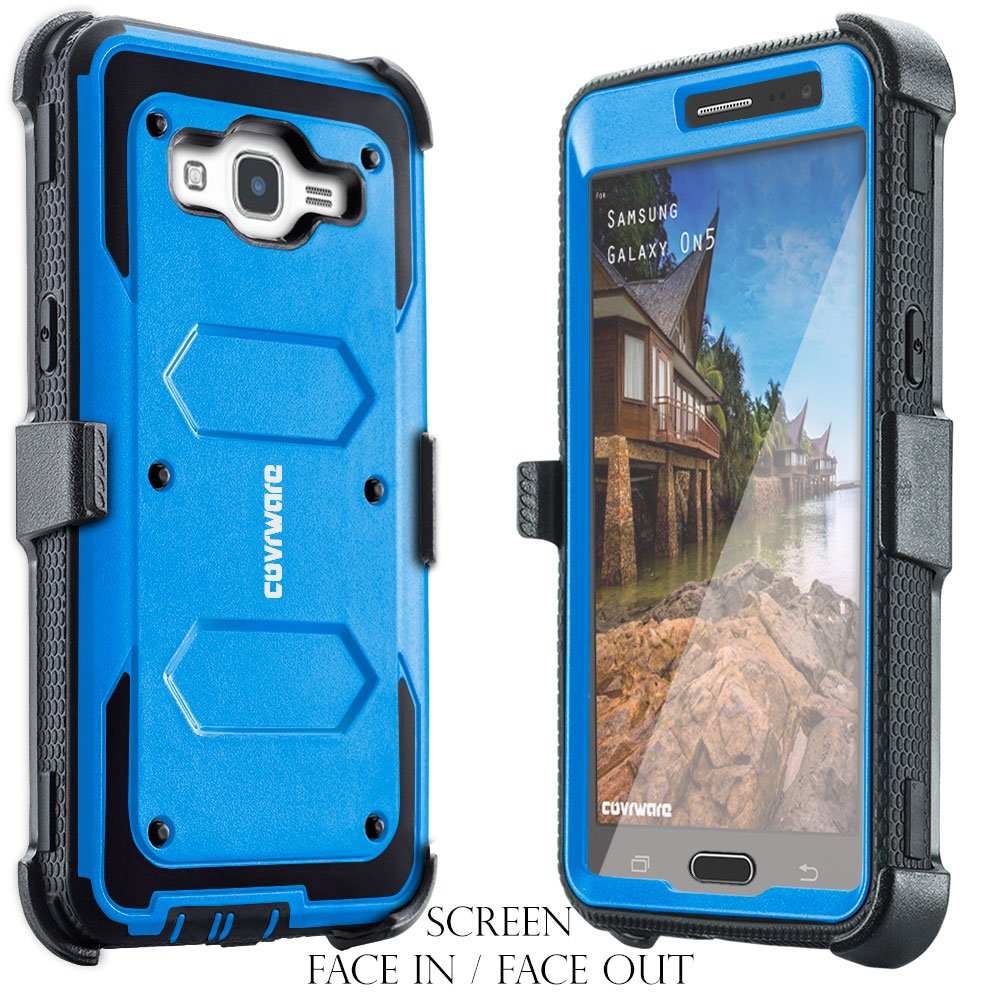 COVRWARE Galaxy On5 [Aegis Series] w/Built-in [Screen Protector] Heavy Duty  Full-Body Rugged Holster Armor Case [Belt Swivel Clip][Kickstand] for
