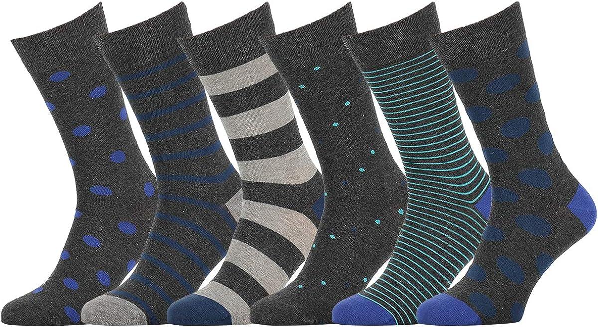 Mens Womens Made in Europe Easton Marlowe 6 Pack Colorful Fun Patterned Dress Socks