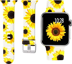 Laffav Compatible with Apple Watch Bands 40mm 38mm for Women Waterproof Durable Soft Sport Replacement Strap Compatible with Apple Watch SE & Series 6 & Series 5 4 3 2 1, Big Sunflower, S/M