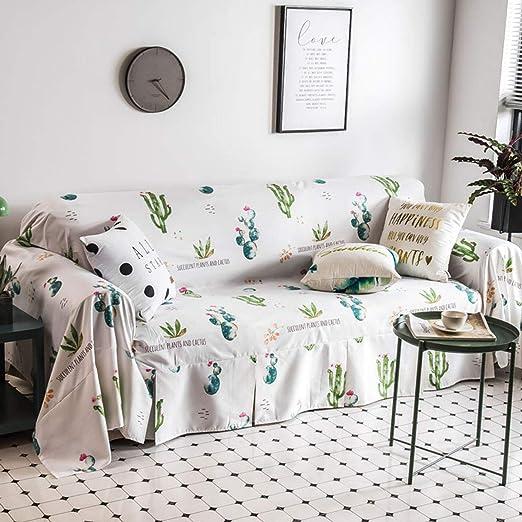 Will Fiber de algodón Funda de sofá Cubierta de Tela Escocesa cojín Simple Moderno sofá Toalla Cubierta decoración del hogar para 1 2 3 4 plazas,Cactus,1seater: Amazon.es: Hogar
