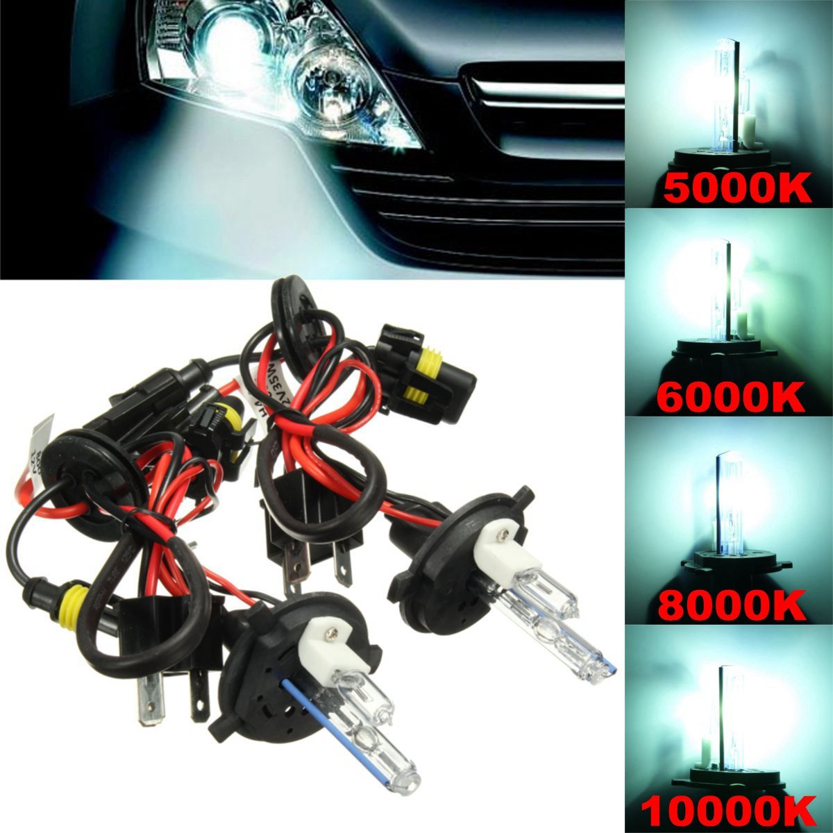 Generic Pair H4 H4-2 35W 55W Hi-Lo Dual Beam Car Xenon Headlight HID Light Bulb Lamp Kit: Amazon.in: Car & Motorbike