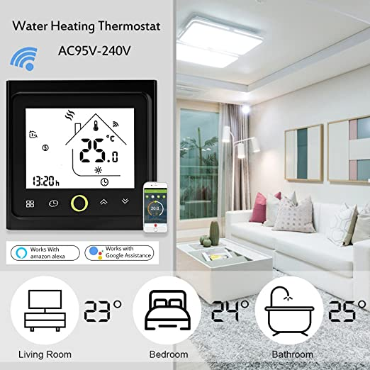 Onepeak Programmable Wifi Thermostat for Water Heating LCD Display Smart WIFI Temperature Controller Compatible with Alexa for Voice Control. - - Amazon.com