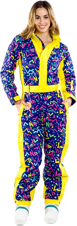 Women's Zero Chill Retro Ski Suit - Vintage Inspired Performance Neon Snowsuit Onesie for Female