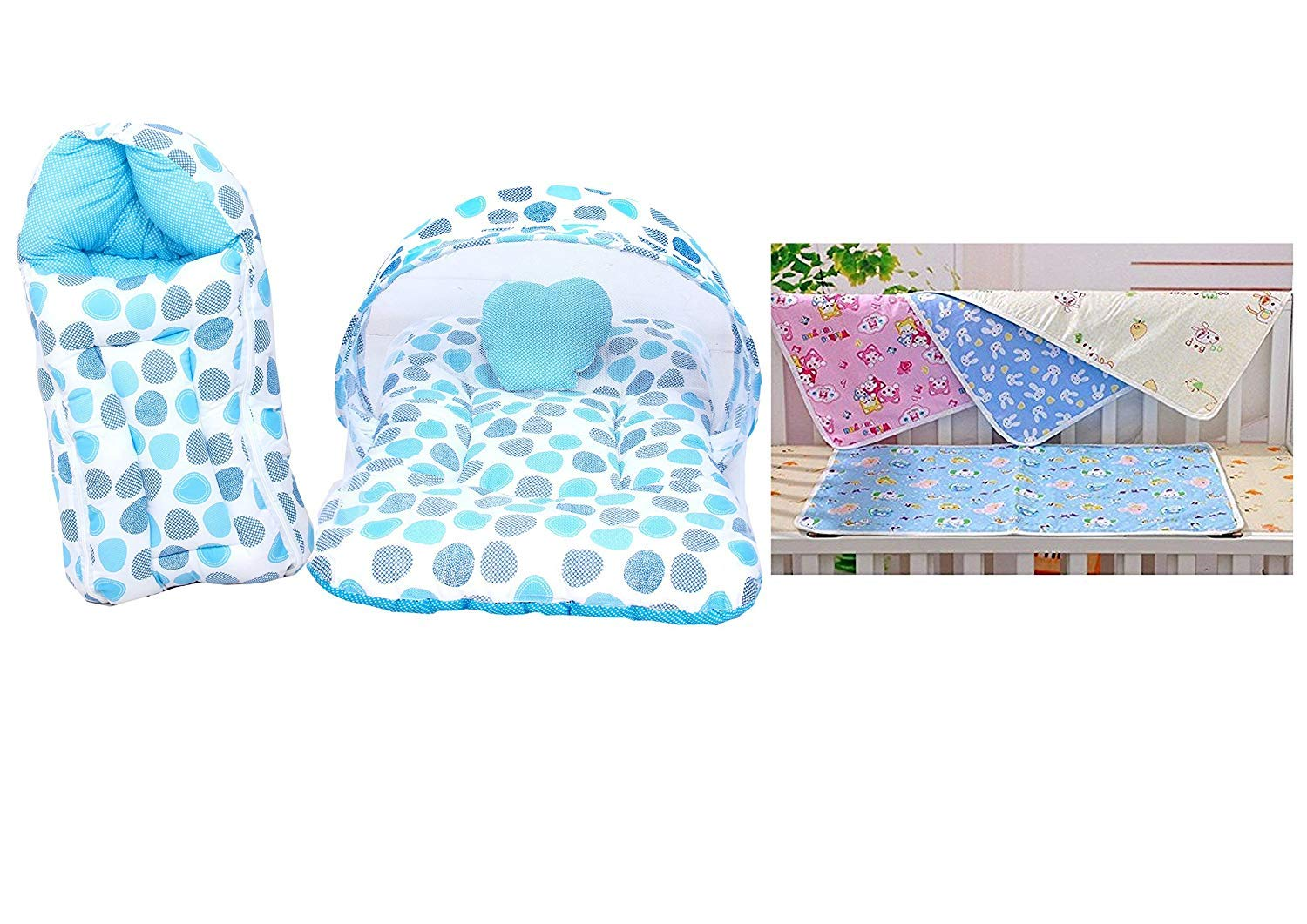 Baby Fly Combo of 1 Blue Polka Print Mosquito Net Bed and 4