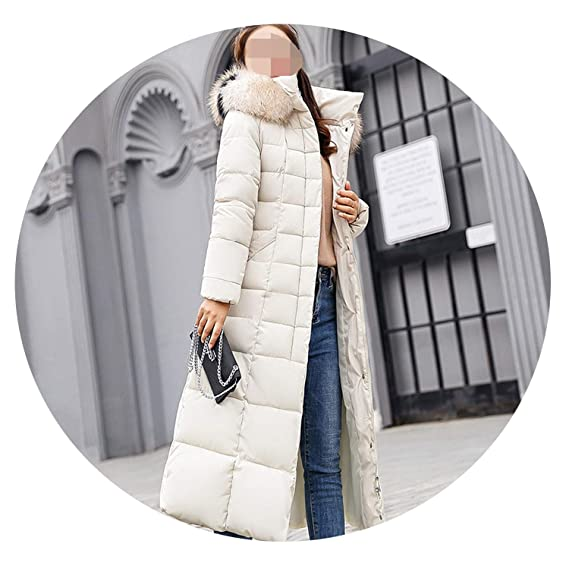 Amazon.com: Khunria-show-outerwear Women Big Fur Belt Hooded Thick Down Female Jacket Slim Warm Winter Outwear 2019 New,White Fur,XL: Clothing