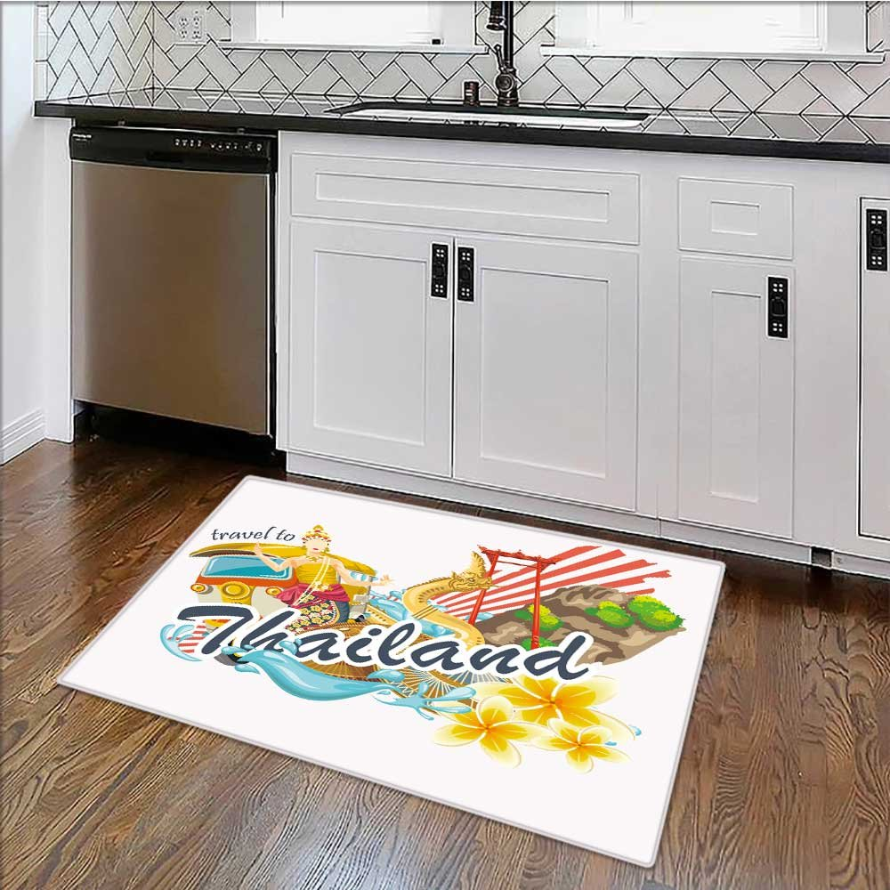 Rug Easy to Clean, Durable travel thailand landmarks thai vector icons vacations poster Rug for Kitchens W39'' x H20''