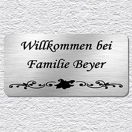 100 mm x 50 mm Edelstahl T/ürschild Klingelschild Briefkastenschild Namensschild mit individueller Laser-Gravur in vielen Schriftarten Modell Schumann Gr/ö/ße ca