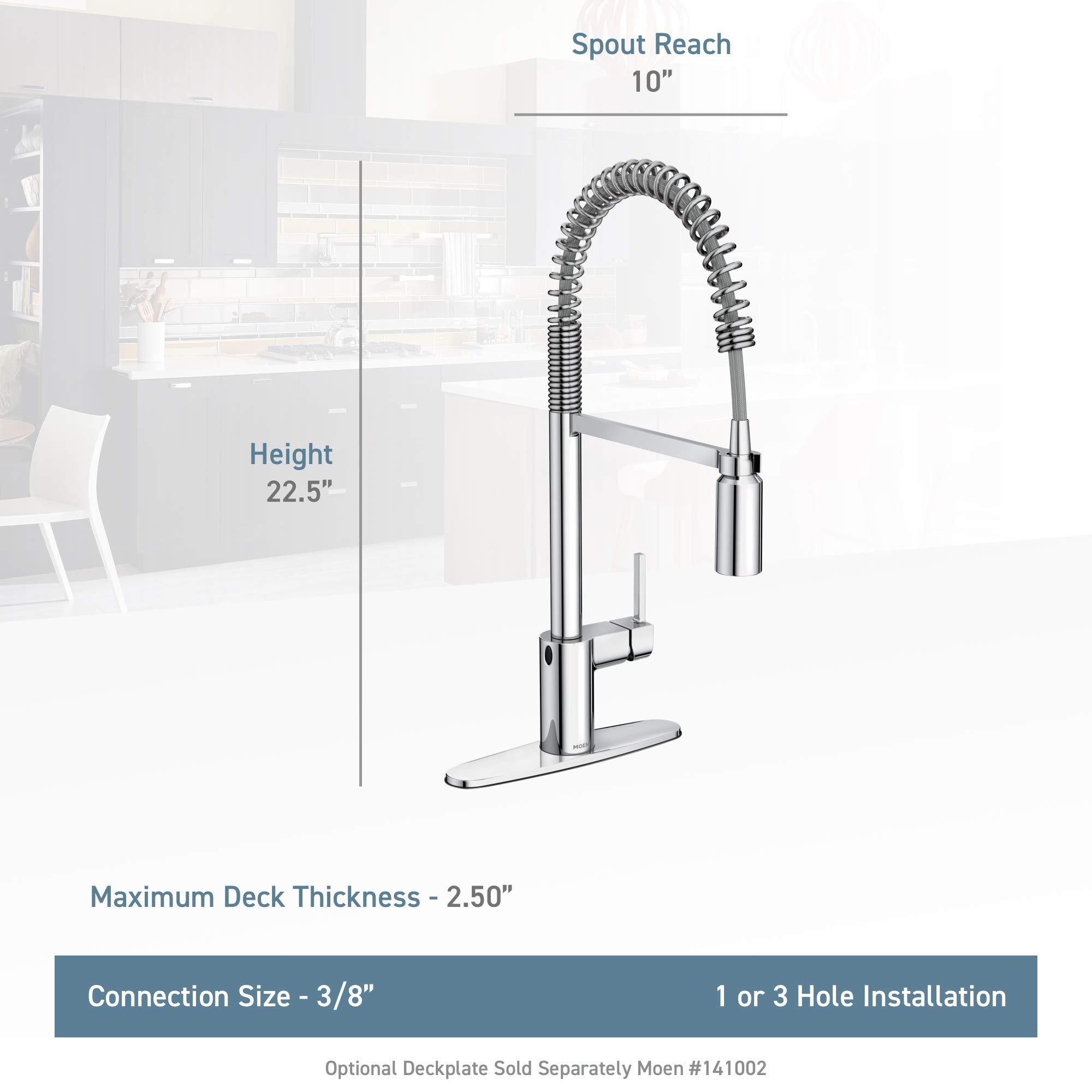 Moen 5923EWSRS Align Motionsense Wave Sensor Touchless One-Handle High Arc Spring Pre-Rinse Pulldown Kitchen Faucet, Spot Resist Stainless by Moen (Image #3)