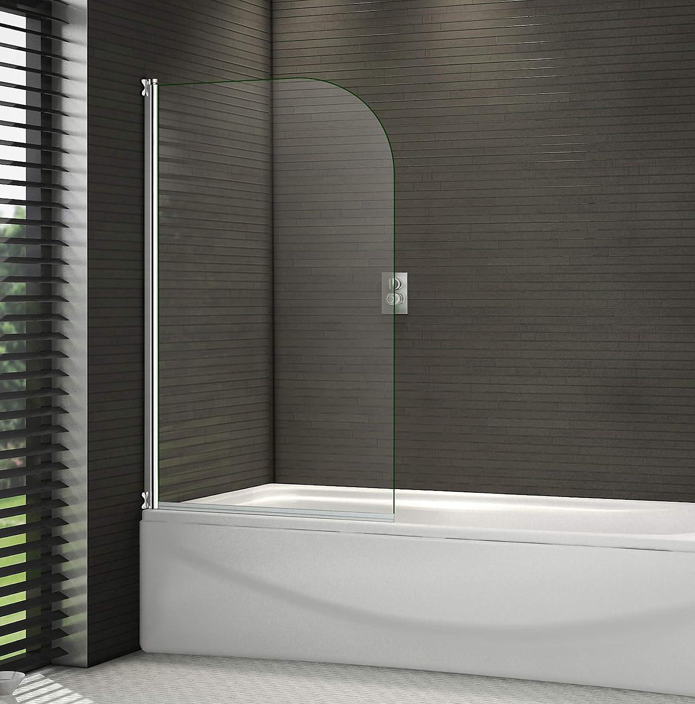 Mampara pivotante de baño, 1400 mm, con marcos cromados de 6 mm, cristal de seguridad.: Amazon.es: Hogar