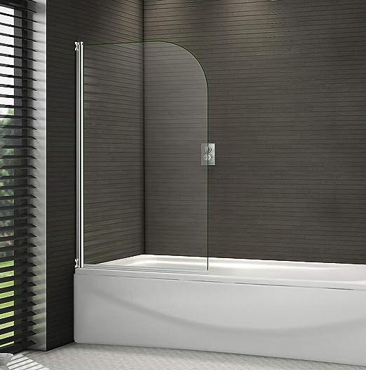 Mampara pivotante de baño, 1400 mm, con marcos cromados de 6 mm ...