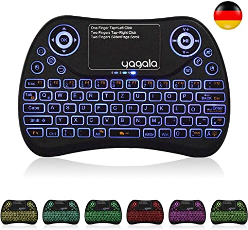 YAGALA Mini teclado inalámbrico con combinación de Ratón con panel táctil, diseño de teclado alemán QWERTZ de 2.4GHz, control remoto de teclado Smart ...