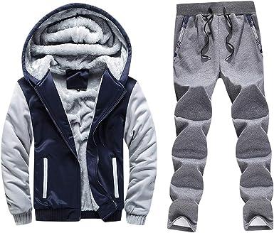 Holataa Chandal Hombre Invierno Pantalones Deportivos + Abrigo con Capucha y Cremallera Sudadera con Forro Polar: Amazon.es: Ropa y accesorios