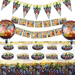 Set of 68 Pcs Dragon Ball Z Theme Birthday Party Supplies and Decorations for 10 Guests Include Favors Bags Plates Table Cover Decor Kit