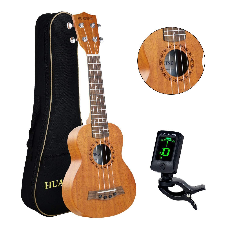 Soprano Ukulele Beginner Kit HUAWIND 21 Inch Mahogany 4-String Hawaiian Ukelele with Gig Bag & Tuner, Natural