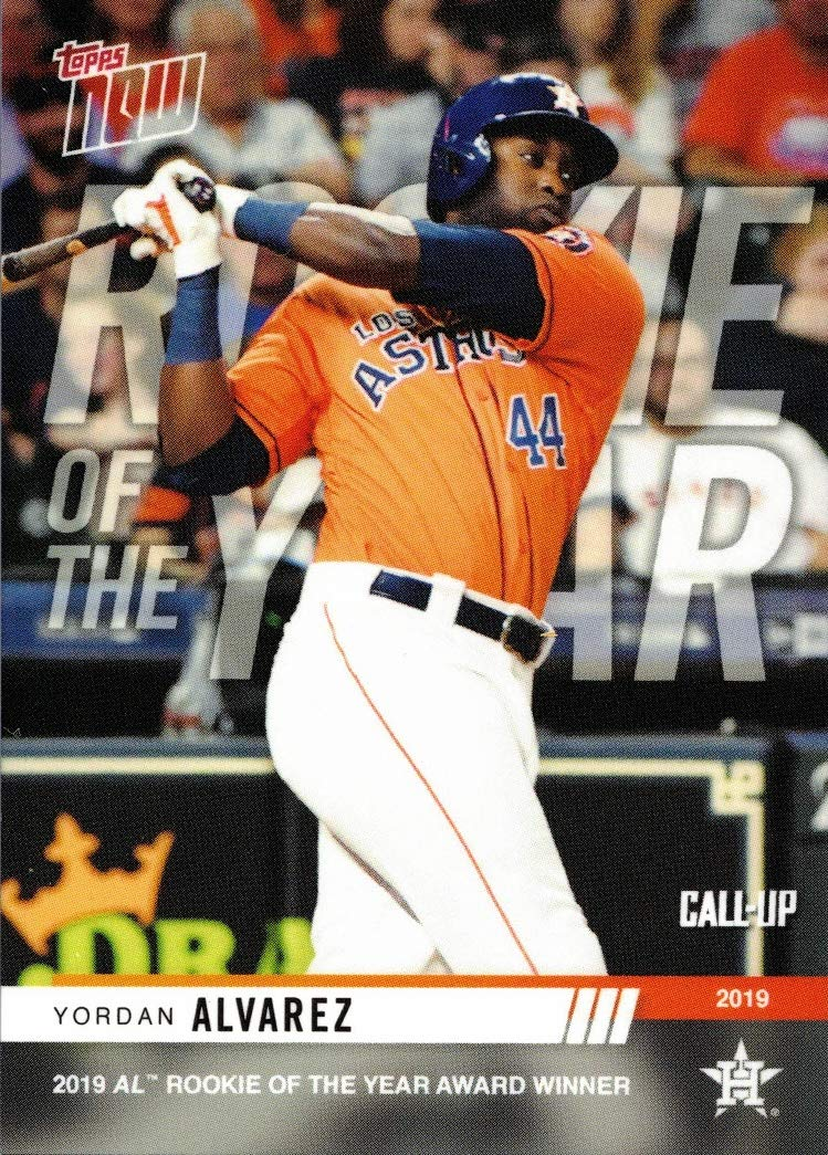 Only 1,082 made! Wins 2019 AL Rookie of the Year Award 2019 Topps Now Baseball #AW-2 Yordan Alvarez Pre-Rookie Card