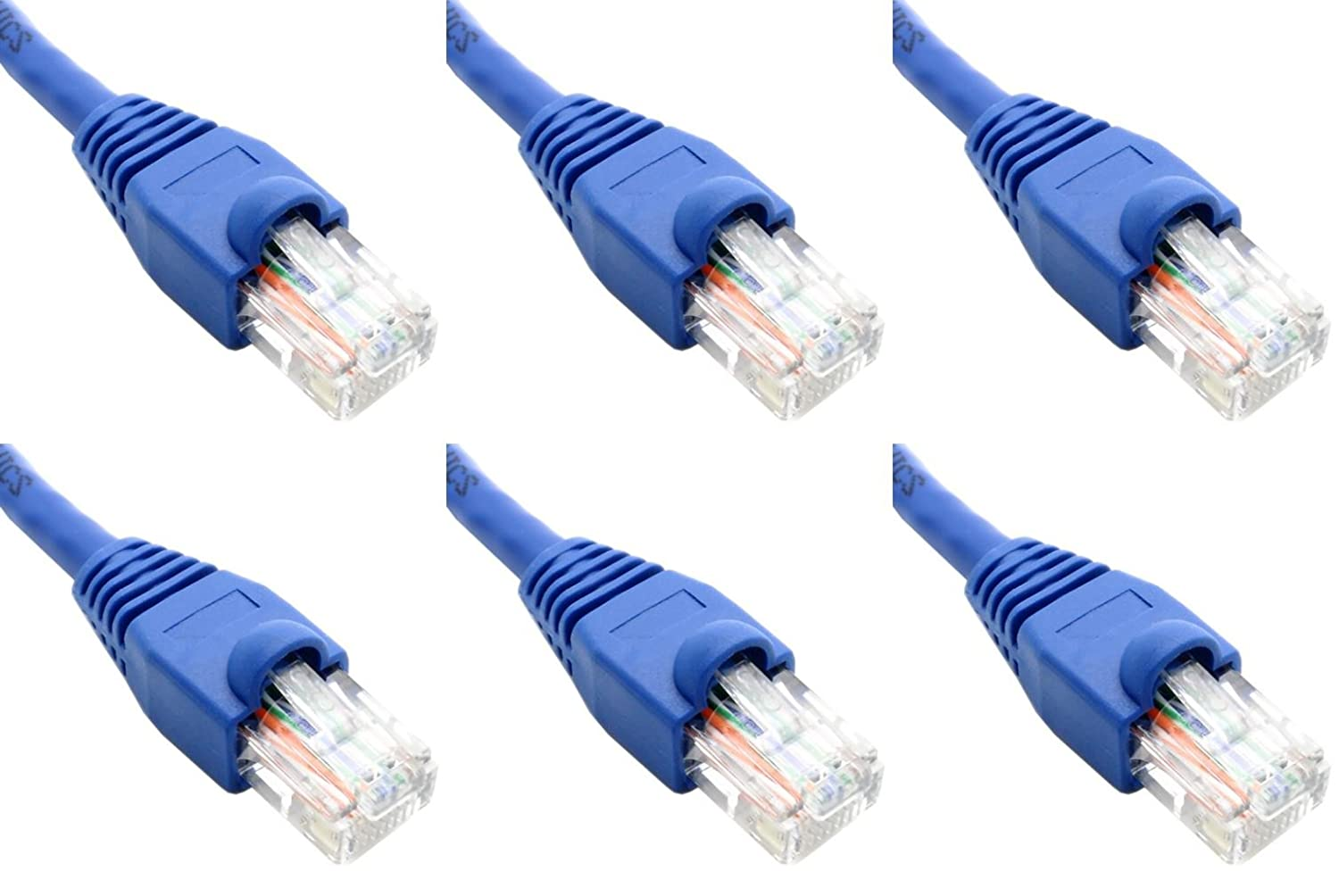 Ultra Spec Cables Pack of 6 Blue 2FT Cat6 Ethernet Network Cable LAN Internet Patch Cord RJ45 Gigabit