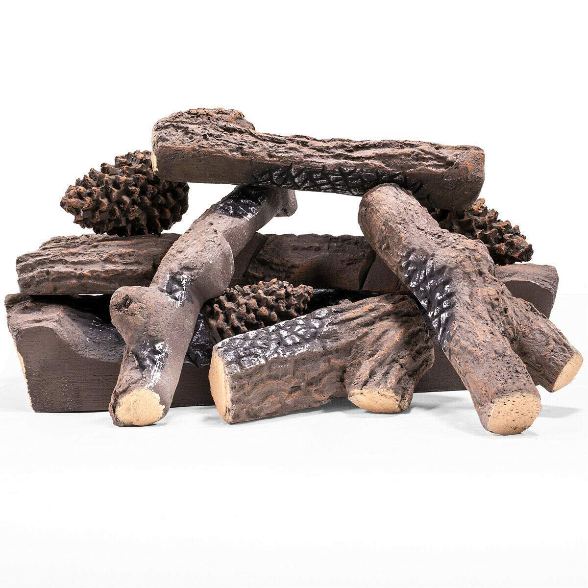 Realistic Decorative 9pc Ceramic Pine Wood Flame Firepit Woods Log 9-Pieces Set