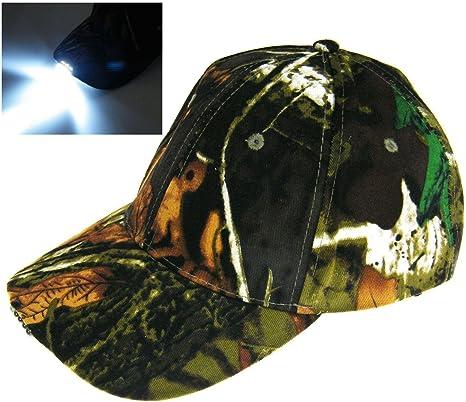 Con Battry! Luz 5 LED camuflajeCamo caza selva Pesca gorra Tapa de ...