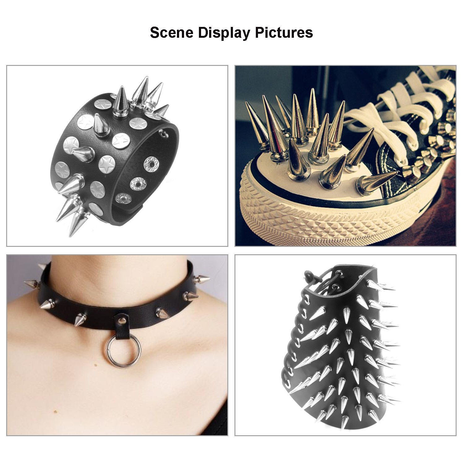 Wadoy Spikes Screwback and Bullet Studs 10x25mm Silver 10 Packs Spikes Screwback DIY Belt Bag Leather Craft Clothes Rivet