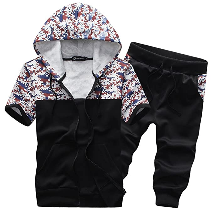 Bradleybla Summer Style Mens Suit Casual Sportwear Suit Men Slim Cardigan Tracksuits Shorts Sets Color at Amazon Mens Clothing store: