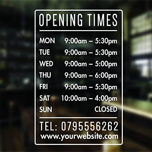 Opening hours sign opening times sign for shop window sticker v4 open closed sign business hours