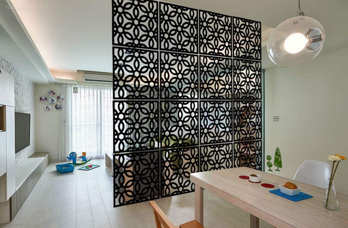 Kernorv 12 PCS Hanging Room Divider Made of Environmentally PVC Decorative Screen Panels for Living Room Bedroom Office Restaurant (Black)
