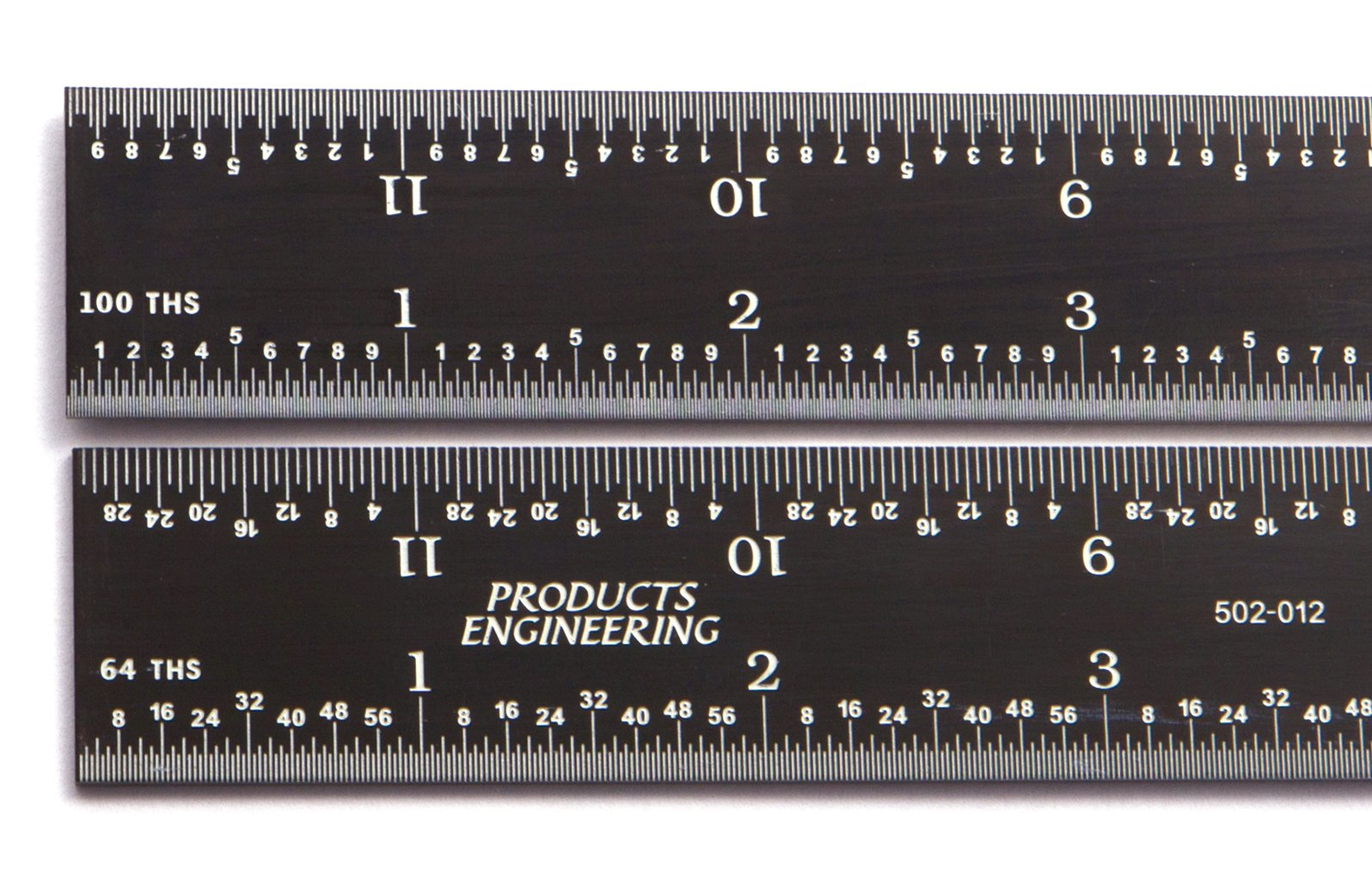 PEC Tools 24'' 16R rigid black chrome,high contrast machinist ruler with markings 1/50'', 1/100'', 1/32'' and 1/64''