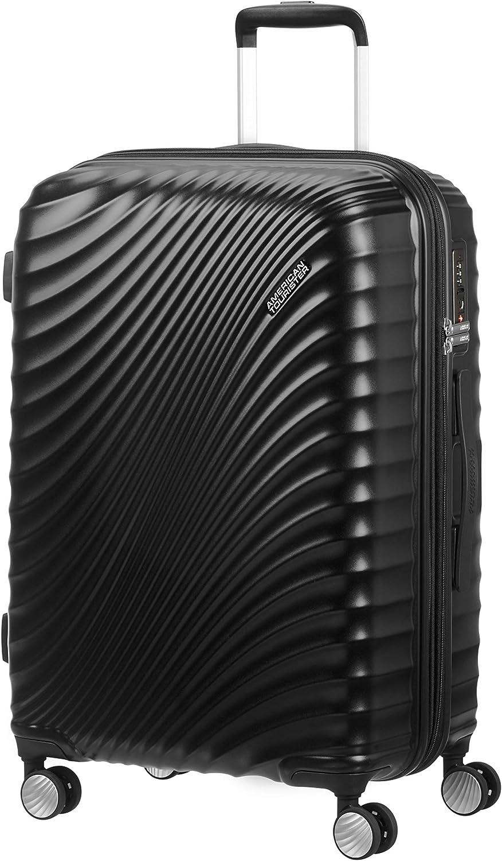 American Tourister Jetglam Spinner M Expandible Maleta, 67 cm, 77.5 L, Negro (Metallic Black)